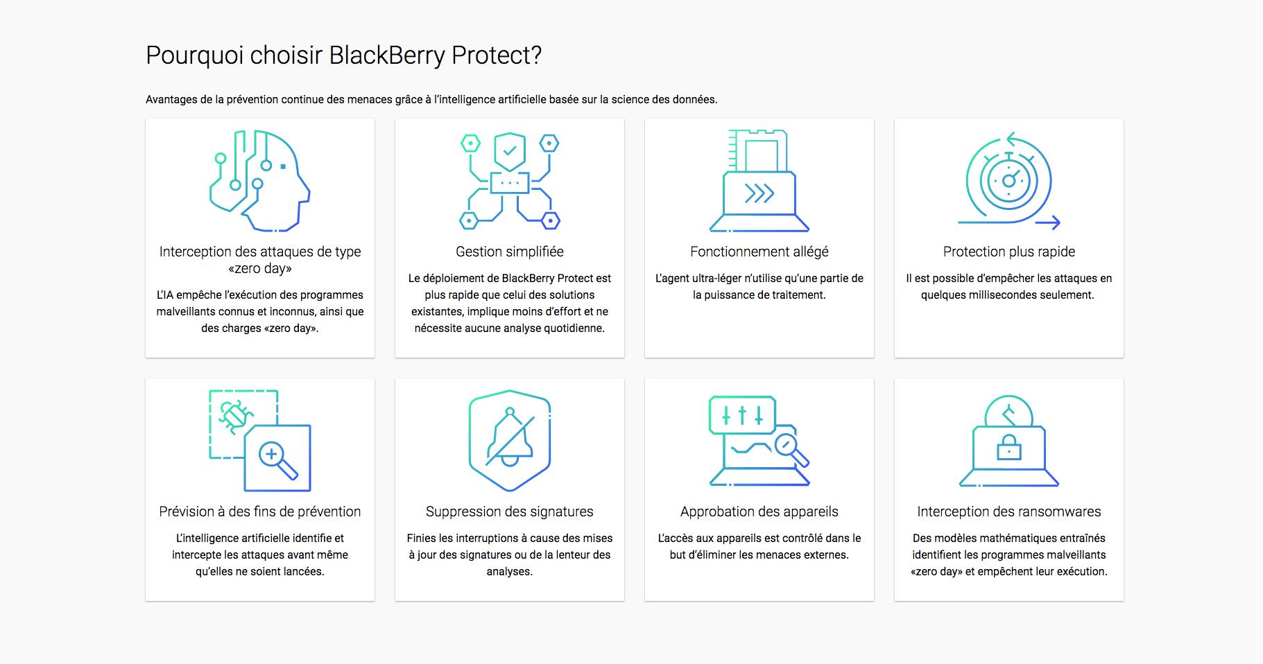 photo d'écran pourquoi choisir Blackberry Protect