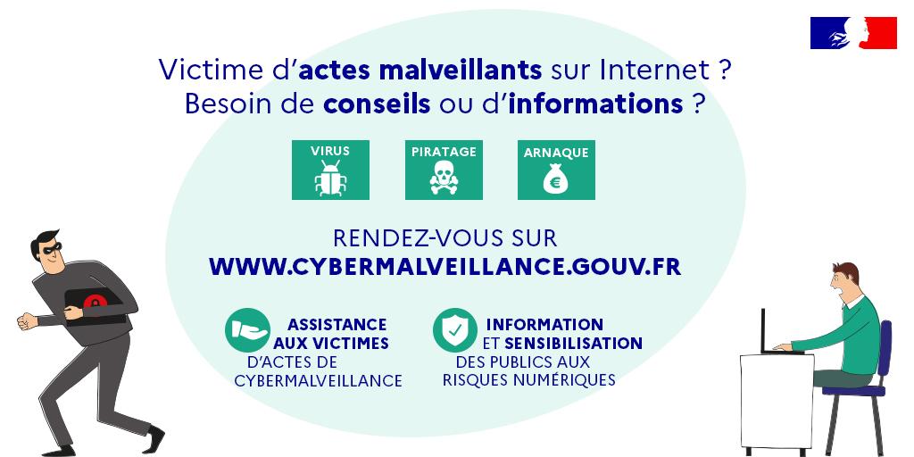 Infographie illustrant les objectifs de la plateforme cybermalveillance.gouv.fr